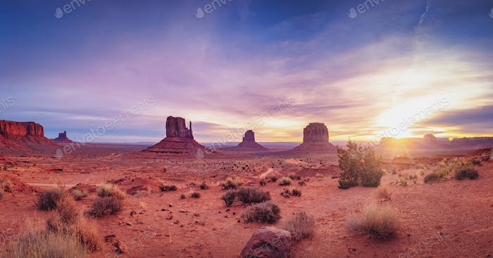 Panoramic landscape view of Monument valley at sunrise, Utah