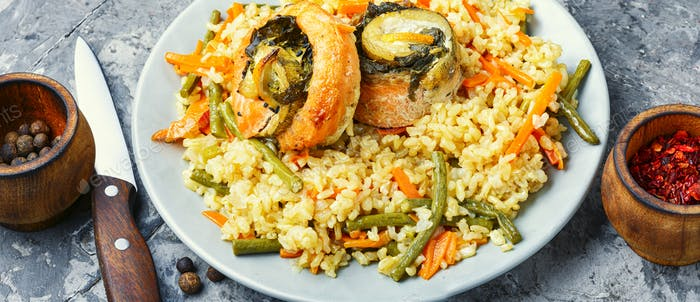 Rice with seafood and vegetables