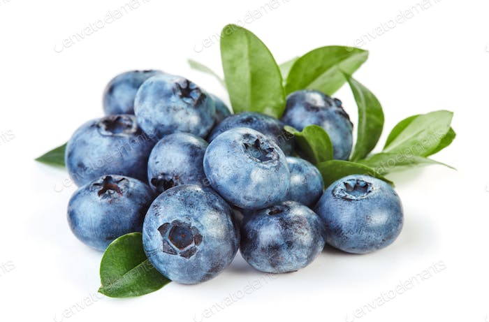Blueberry on white background