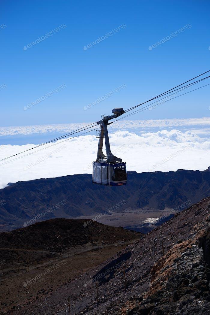 cableway tower on Teide mountain on Tenerife, Spain