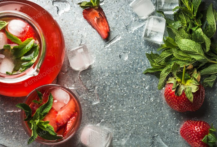Homemade strawberry lemonade with mint