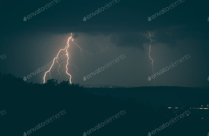 Lightning Strikes Stormy Night