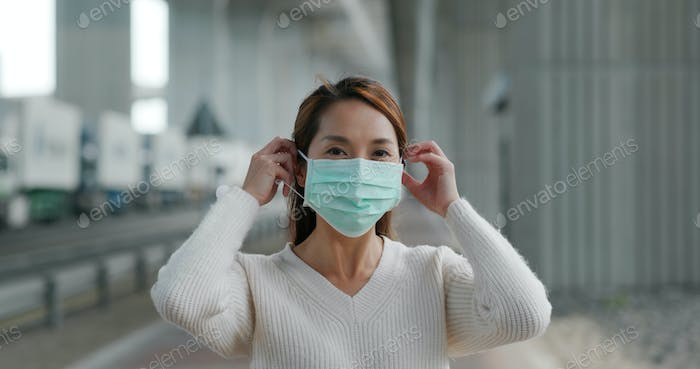 Woman wear medical mask at outdoor