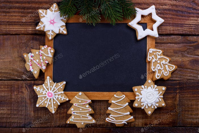 Christmas frame with cookies