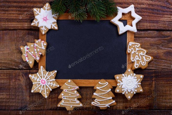 Weihnachtsrahmen mit Plätzchen