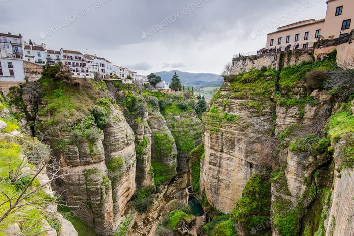White houses hanging from cliffs in Ronda,Spain