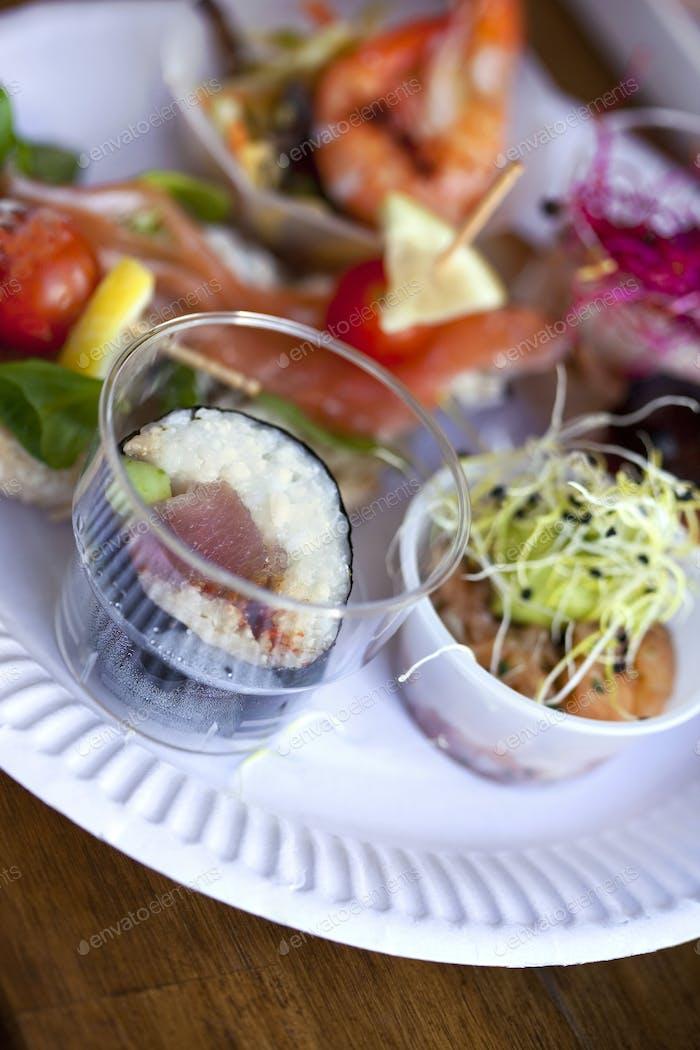 Tapas and sushi