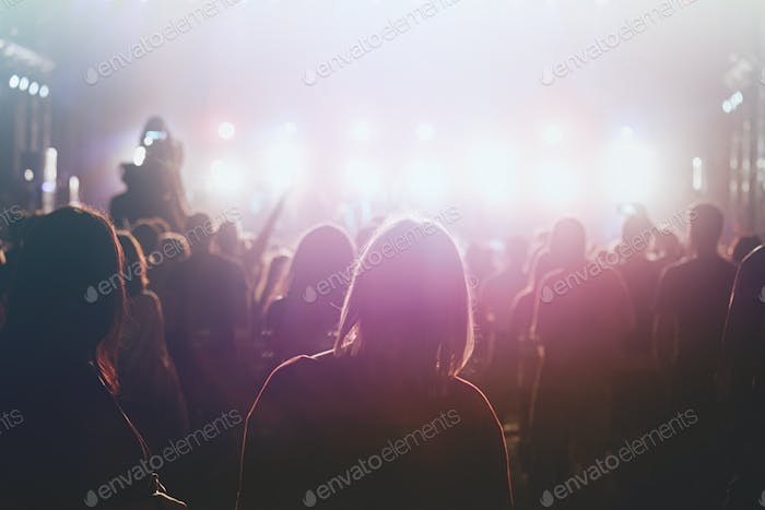 Group of people attending concert