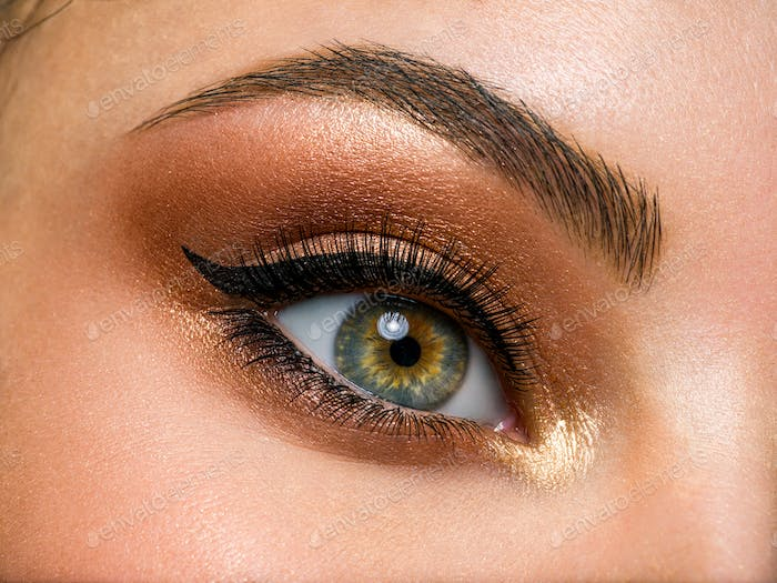 Beautiful female eye with brown, shiny makeup.