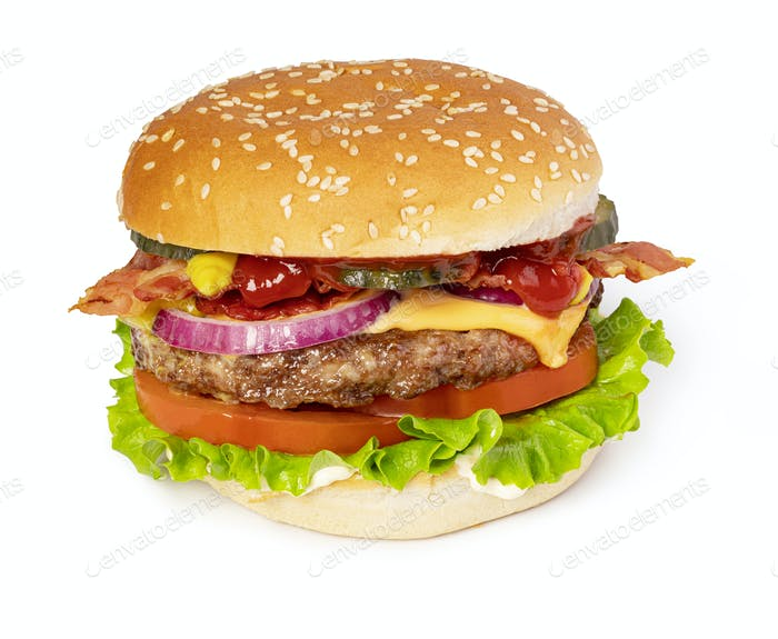 Tasty burger with bacon
