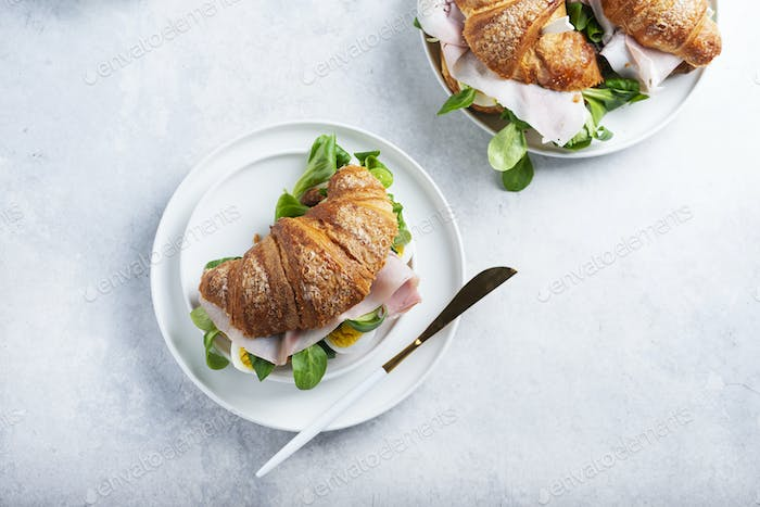 Fresh croissant with green salad