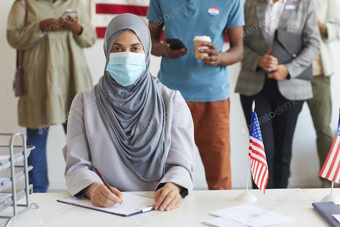 Modern Arab Woman Voting at polling Station