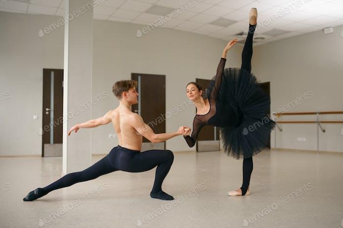 Weibliche und männliche Balletttänzerinnen in Aktion