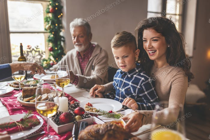 Beautiful family having Christmas dinner