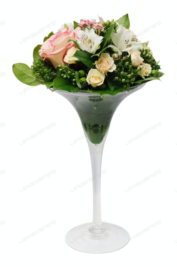 bouquet in glass vase isolated on white background