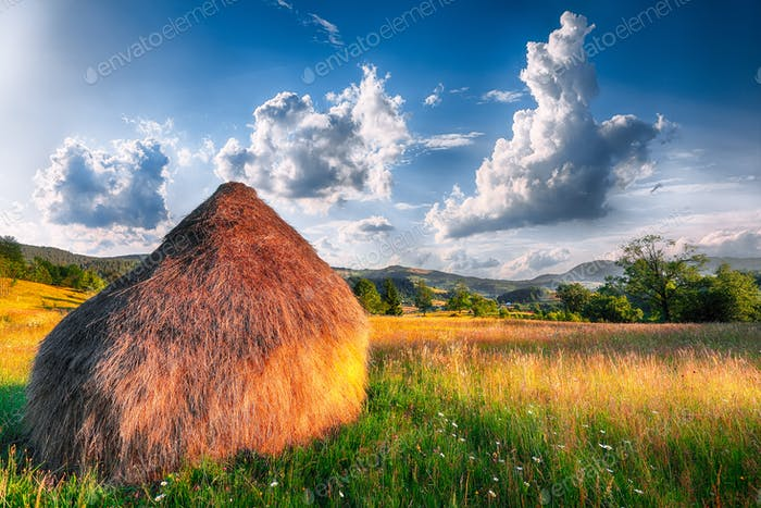 Beautiful countryside landscape with forested hills and haystacks on a grassy rural field