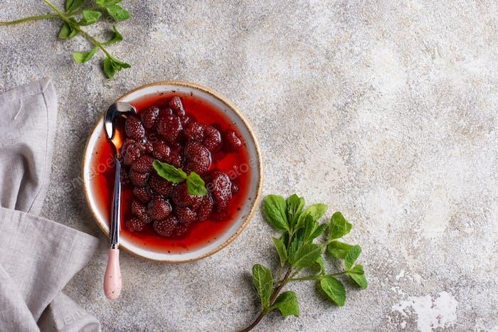 Homemade strawberry jam in plate