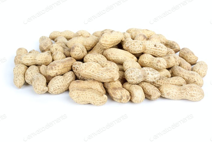 Some peanuts in the husk