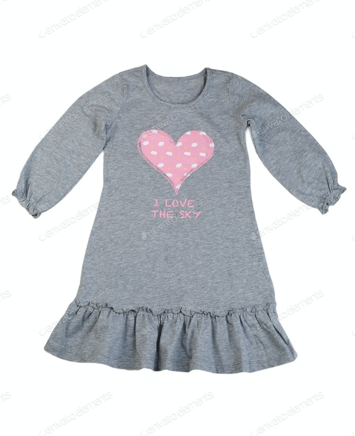 Cotton gray dress with a pattern of hearts.
