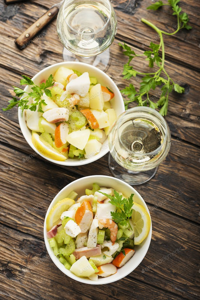 salad with seafood, potato and celery