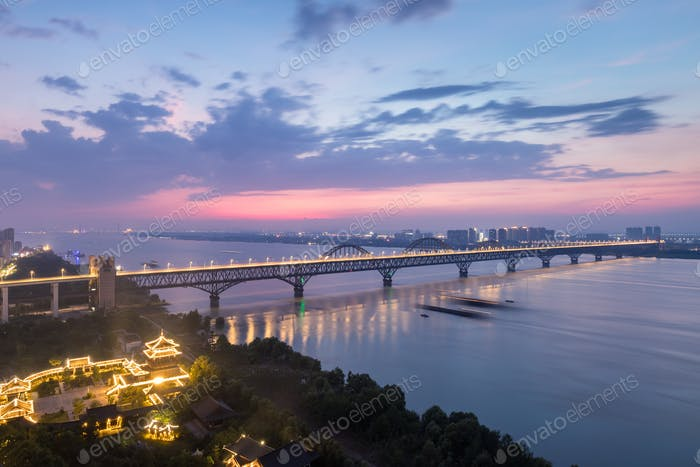 beautiful yangtze river bridge at night in jiujiang