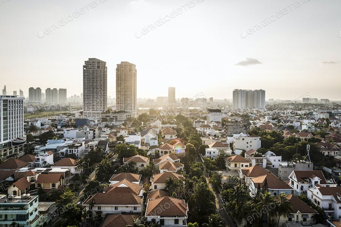 A view over District 2 and beyond, Ho Chi Minh City, Vietnam.