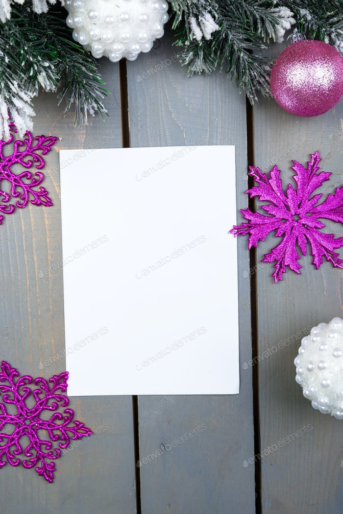 Christmas card, empty paper. Christmas decoration. Flat lay.