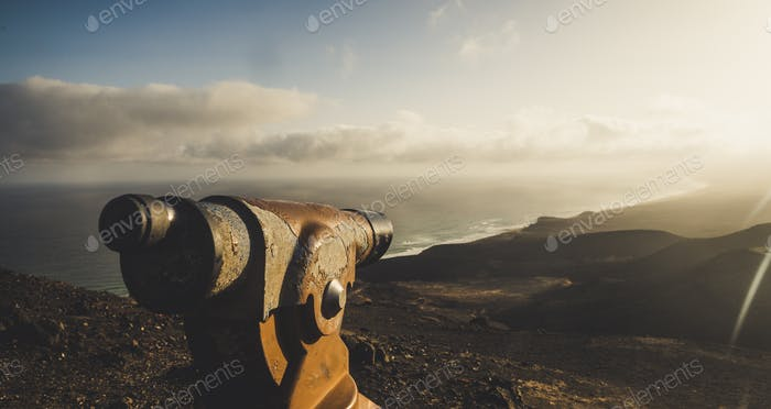 Scenic beautiful landscape from observatory point on a top of the mountain - ocean and beaches