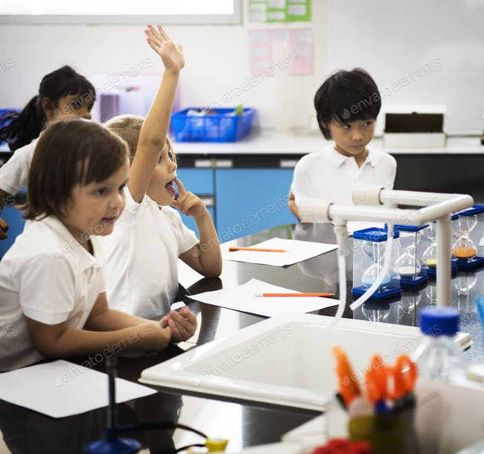 Diverse kindergarten students learning study in classroom