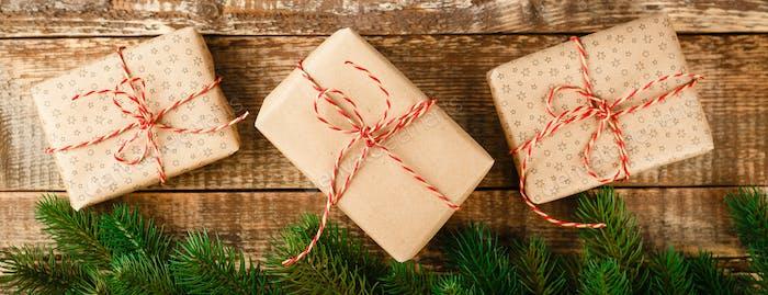 Craft gift box and red ribbon