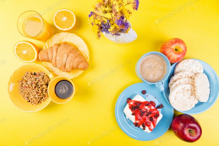 Healthy Breakfast. Various Assortment Set.