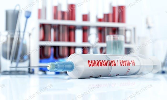 Coronavirus vaccine research in laboratory. Syringe on white table.