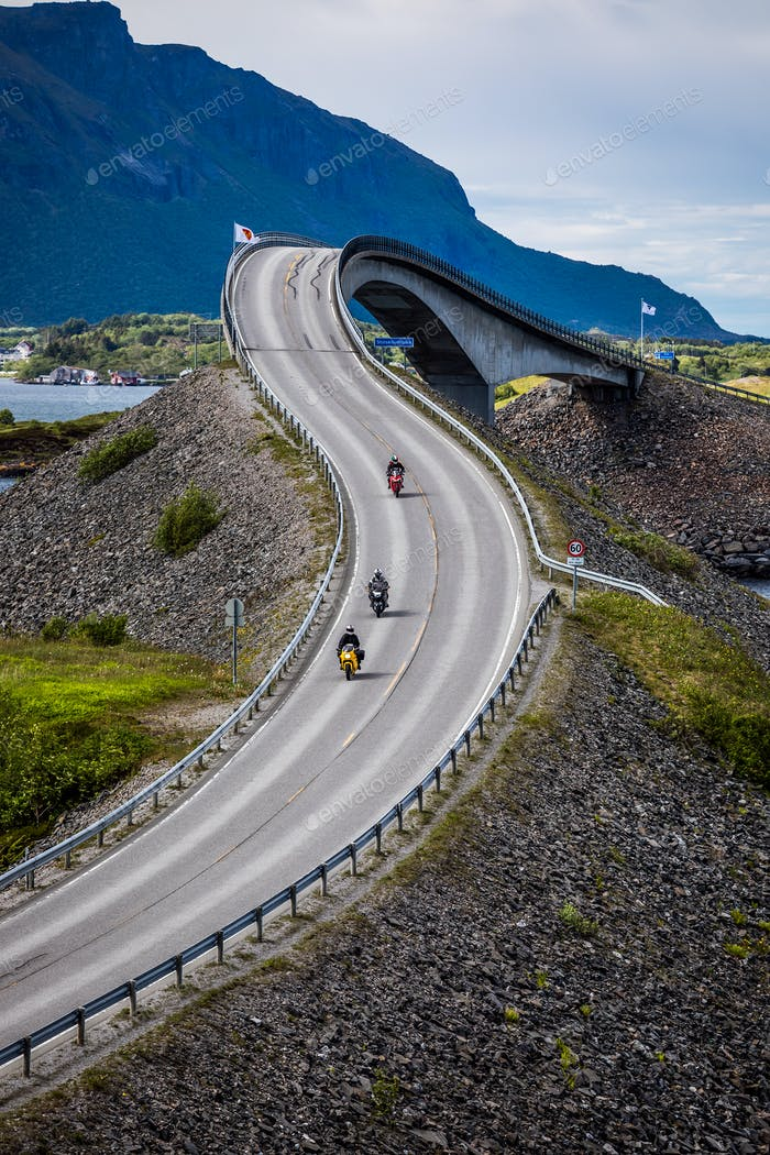 Atlantic Ocean Road Two bikers on motorcycles.
