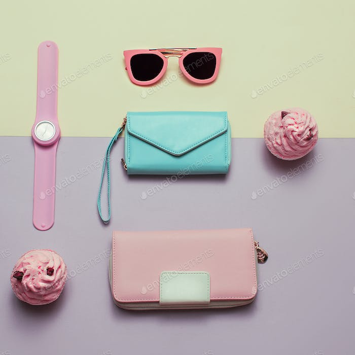Ladies Fashion Accessories. Wallet, watch, necklace, glasses. Pa