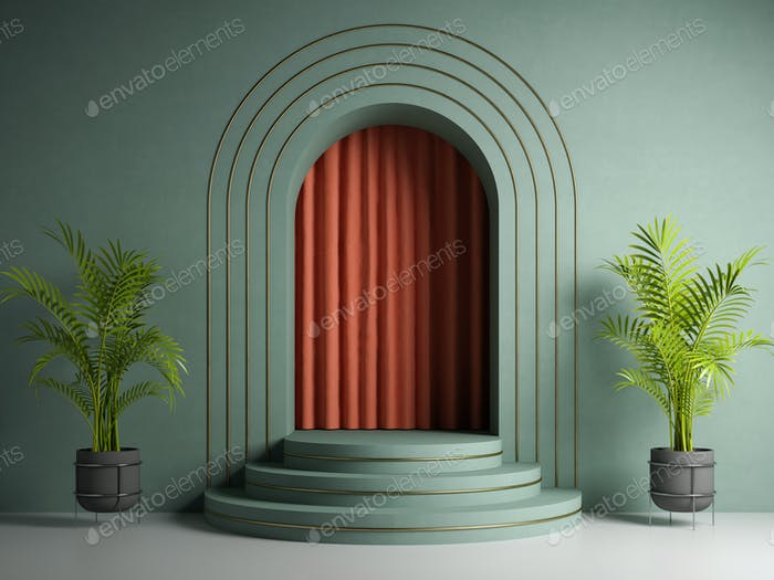 Conceptual interior with podium 3d illustration