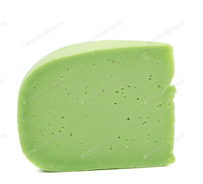 Piece of cheese wasabi. Close up.