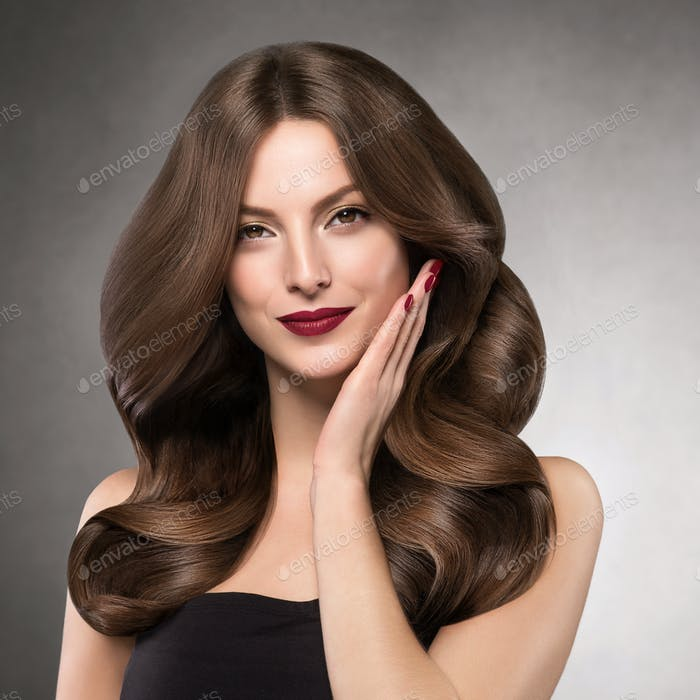 Beautiful shine hair woman long hairstyle beauty makeup