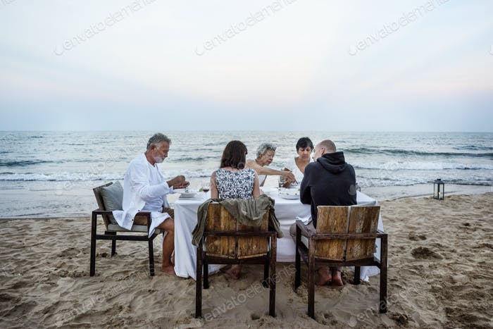 Mature friends having a dinner party at the beach