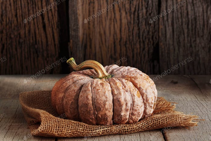 Pumpkin with wood background