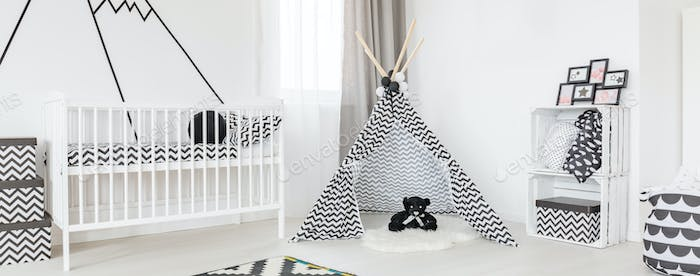 White cradle and tipi tent