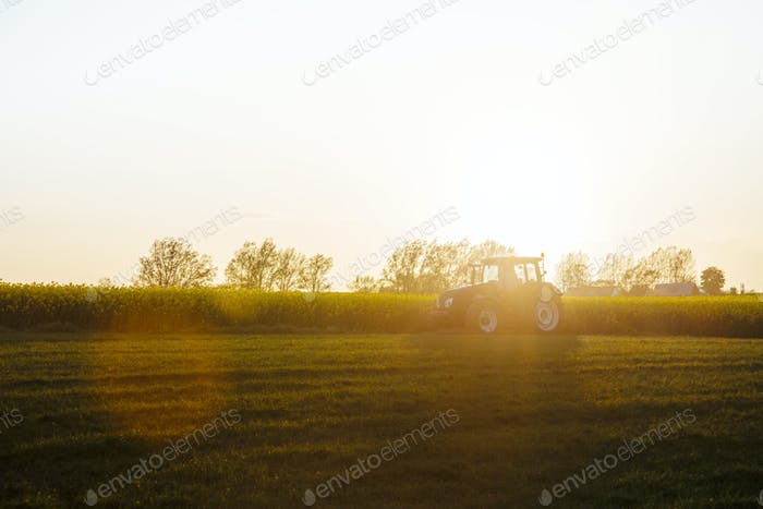 Tractor on field during sunset