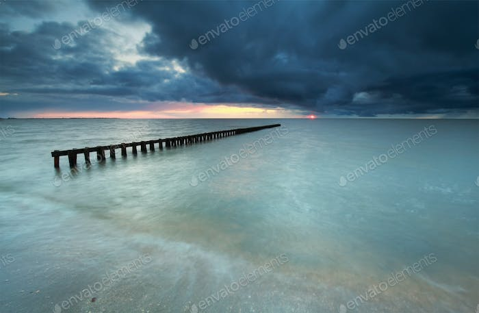 cloudy sunset on the sea coast