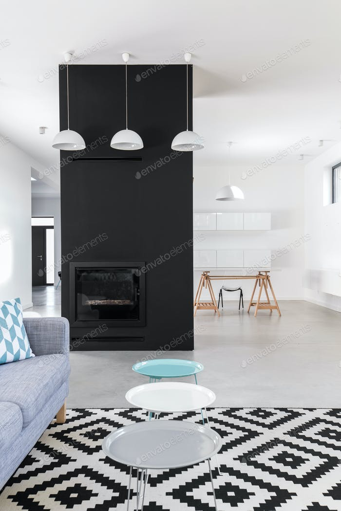 Minimalist living room with black fireplace