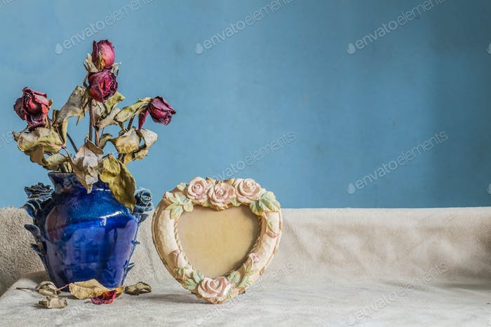 frames and vases on background.