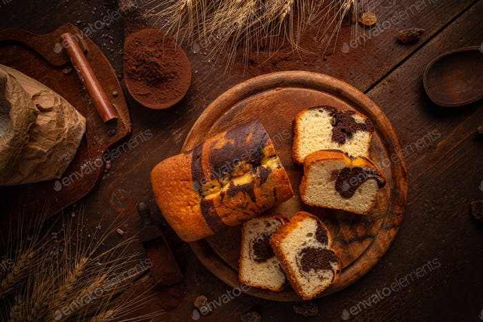 Cocoa and vanilla loaf marble cake