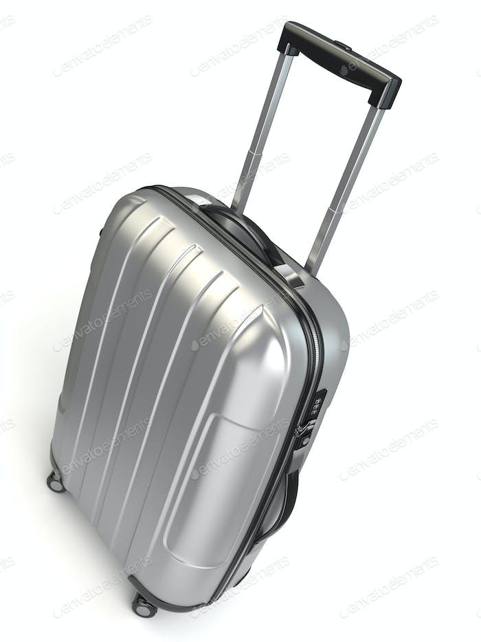 Luggage, Aluminium suitcase on white isolated background.