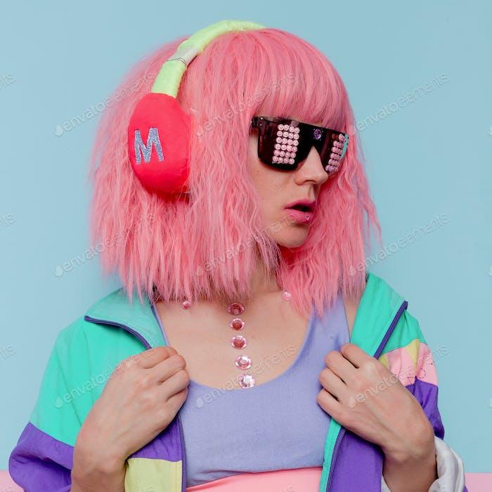 Minimal pop art style. Creative DJ girl.