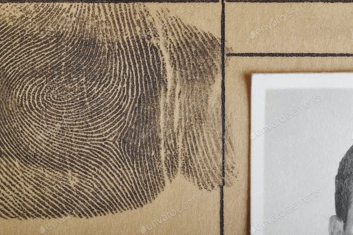 Digital ink fingerprint over a textured paper. Security control. Vertical