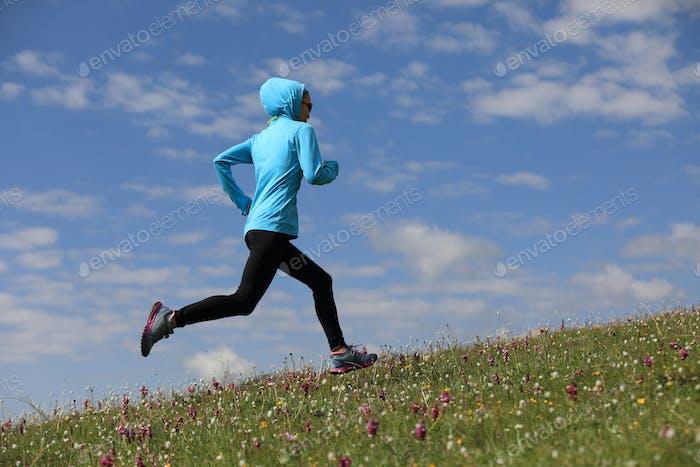 Running under blue sky