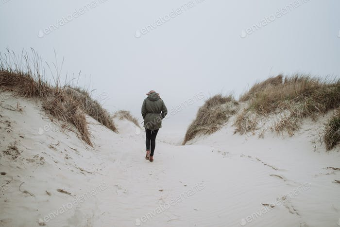 Walking on the winter beach